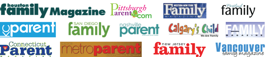 Array of parenting and family magazine covers