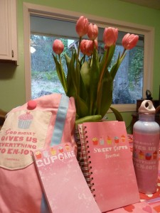 DaySpring tote, notepad, journal, water bottle